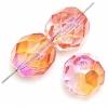 Fire polished 8mm Crystal/orange/rose Two-tone Aurora Borealis